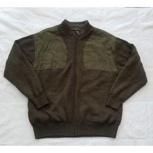 Orvis 100% Wool Heavy Knit Sweater Jacket Olive